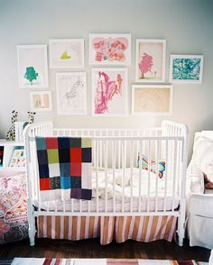 Jenny Lind style crib - love the art collage
