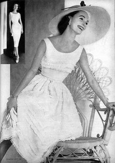 Glamour Magazine, 1957  Scan of a fashion photo featuring a summer dress and hat.