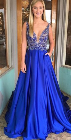royal blue prom dress, 2018 long prom dress, prom dress with pockets, senior prom dress party dress