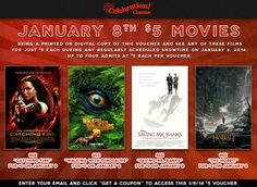 $5 movies on January 8th at Celebration! Cinema. Visit our website to grab your voucher.