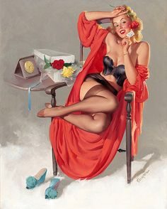 """Gil Elvgren - """"American Beauties"""" 1949 [192] (April showers bring May flowers, but if there's a reason, some gals gather rosebuds boxed - Early in the Season.)"""