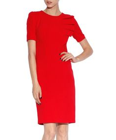Red pleated frill detail dress Sale - NISSA Sale