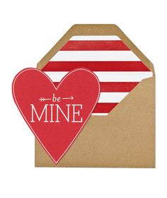 Be Mine Heart This letterpress red heart is the grown-up version of the love-notes you used to pass out in class back in the day.  To buy: $7, sugarpaper.com.