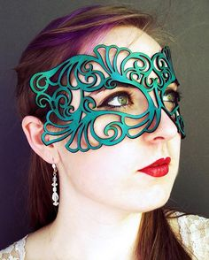 Coquette leather mask in teal - at Hallow'een. Obviously couldn't wear in supermarkets...!!!