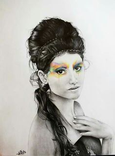 Rainbow Soul Pencil 6H-6B-8B, 05 HB, pastell Jessica Ramella 2013 #rainbow #soul #girl #monochrome #color #mind #draw #girl