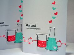 Show your love with this geeky Valentine card. Its perfect for anyone who likes science! Front: card is on white cardstock. Some adorable science