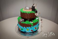 #Groom's cake fishing theme by Cupcakes. Love, Mona. @Mona Ascha Abdi #groomscakefishing