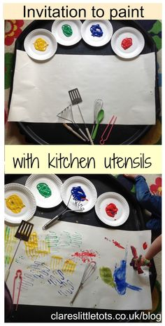 with kitchen utensils Invitation to paint with kitchen utensils. Fun painting activity for all ages.Invitation to paint with kitchen utensils. Fun painting activity for all ages. Nursery Activities, Painting Activities, Infant Activities, Toddler Play, Toddler Crafts, Crafts For Kids, Creative Activities For Children, Baby Crafts, Creative Area Eyfs