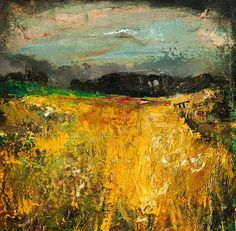 ☼ Painterly Landscape Escape ☼ landscape painting by Joan Kathleen Harding Eardley, The Cornfield
