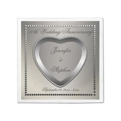 10th Tin Look Wedding Anniversary Monogram Paper Napkins