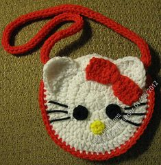 Crochet Purses Ideas Kitten Pocket Purse By Doris Yocum Turner - Free Crochet Pattern - (ravelry) - Crochet Shell Stitch, Bead Crochet, Free Crochet, Double Crochet, Hello Kitty Crochet, Hello Kitty Purse, Cat Purse, Crochet Handbags, Crochet Purses