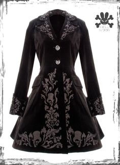 BLACK HELL BUNNY SPIN DOCTOR STEAMPUNK VICTORIAN LONG VELVET JACKET COAT FROCK XS S M L XL 8 10 12 14 16 emo gothic skulls vintage: Amazon.co.uk: Clothing