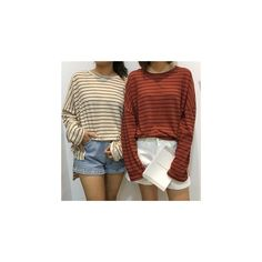 Striped Long Sleeve T-Shirt ($16) ❤ liked on Polyvore featuring tops, t-shirts, shirts, women, striped shirt, stripe t shirt, brown long sleeve shirt, striped long sleeve shirt and long sleeve stripe shirt
