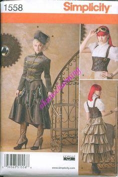 Steam Punk Gown Dress Corset Skirt Sewing Pattern Simplicity 1558 Sizes 6-8-10-12 Ruffled Skirt Military Jacket