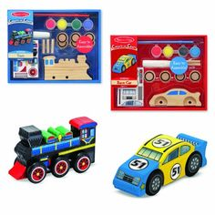 Melissa & Doug Decorate-Your-Own Wooden Train and Race Car Craft Kits, Set of 2 - With themes to suit a variety of interests, each amazing kit includes everything needed to produce a memorable keepsake! Value-priced and packed with a variety of eye-catching materials, these all-inclusive craft kits are ideal for use as party favors or for individual creative play.