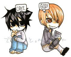 Death Note L and Light Death Note Kira, Death Note Light, L Chibi, Sword Art Online, Totoro, Fairy Tail, L X Light, Amane Misa, Nate River