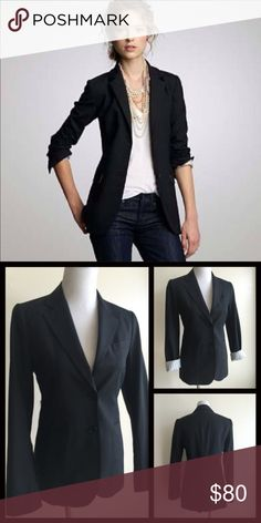 New Listing! Theory Black Boyfriend Blazer Classic Theory Light Weight Wool & Lycra Black Boyfriend Blazer. 2 Button closure with 2 front slit hip pockets. Sleeves are lined with a white striped ticking and can be worn down or rolled up to expose the lining. Measurements available upon request. Bundle & Save$$ Theory Jackets & Coats Blazers