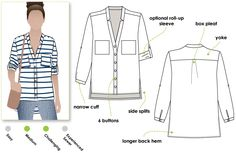 Elsie Woven Overshirt Sewing Pattern By Style Arc