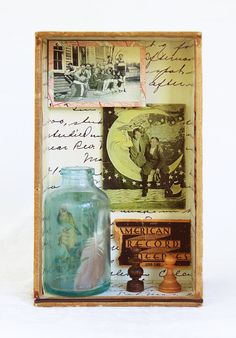 "Mixed Media Assemblage in Cigar Box: ""Camaraderie""  Male Friendship"