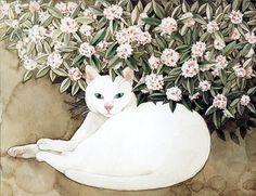 Midori Yamada cat painting via Lost at E minor Art And Illustration, Illustrations, I Love Cats, Crazy Cats, Midori, Gato Anime, Frida Art, Art Japonais, White Cats