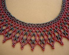 hematite black-dark red ukrainian necklace, ukrainian jewelry,netted seed beaded collar necklace, seed bead statement necklace, gift for her - Hematite black-dark red color beadwork collar necklace. I used czech glass seed beads for this neck - Beaded Statement Necklace, Seed Bead Necklace, Seed Beads, Hematite Necklace, Beaded Collar, Collar Necklace, Beaded Jewelry Patterns, Beading Patterns, Handmade Beads