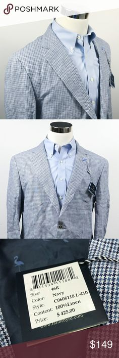 TailorByrd Mens 46R 100% Linen Sport Coat TailorByrd Mens 46R 100% Linen Sport Coat Blue White Houndstooth Two Button  *Note: Please compare to a blazer you already own to assure an accurate fit.  Measurements (inches): Pit to Pit (across the chest): 23 Waist (across mid-section): 22.5 Shoulder (seam to seam): 19.5 Sleeve (shoulder to cuff): 25.5 Length (top of collar to hem): 31  Condition:  This item is new with tags! Free from rips & stains.  All items come from a smoke/ pet free…