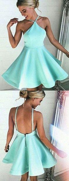 Cute Short Halter Chiffon Wedding Dress with Crystals   Sweet ...