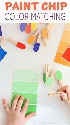 Paint Chip color matching activity for toddlers. Great toddler busy box activity!
