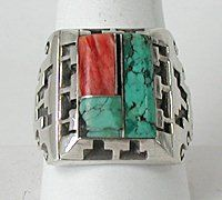 Navajo Sterling Silver turquoise and spiny oyster inlay ring