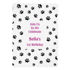 Shop Black Paw Prints Pet Birthday Invitation created by PurpleCatArts. Paw Print Cakes, Colorful Animals, Animal Birthday, 16th Birthday, Birthday Party Invitations, Your Pet, Paw Prints, Print Patterns, Rainbow