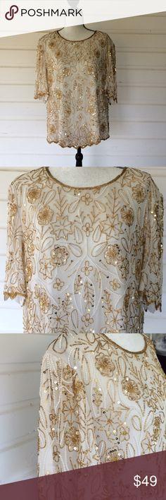 85d1ef5c373f7 Vintage Beaded Silk Top circa 80s Gold Cream Lawrence Kazar Silk Vintage Top  in cream
