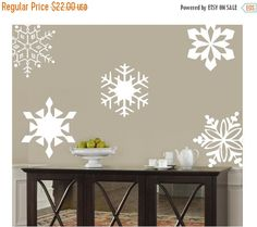 15% Off Snowflakes  10- 10 inch-holiday Vinyl Lettering wall words graphics Home decor itswritteninvinyl