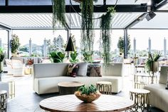 Our Smith pendants in brass at the new Sweetwater rooftop bar and restaurant in Fremantle, Perth. Perth Australia, Visit Australia, Western Australia, Cottesloe Beach, Beer Garden, Rooftop Bar, Outdoor Furniture Sets, Outdoor Decor, Green Life