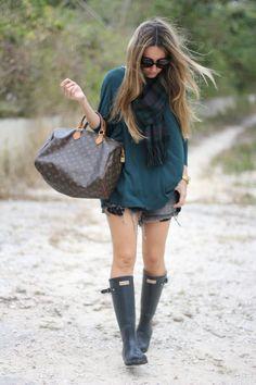 Hunter boots, scarf, bohemian