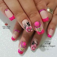 Resultado de imagen para uñas decoradas con flores Classy Nails, Fancy Nails, Pretty Nails, Flower Nail Designs, Gel Nail Designs, Cute Spring Nails, Finger Nail Art, Nail Art Stickers, Cute Acrylic Nails