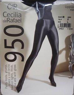 Cecilia de Rafael Satin SHINY GLOSSY SEAMED OPAQUE Collant Pantyhose