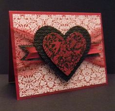 """This is my card for """"Go RED for Women"""", American Heart Month. All supplies from Stampin' Up! Twitterpated Designer Series Paper, You are Loved stamp set, Cherry Cobbler embossing powder, Square Lattice embossing folder, Scalloped Tulle Ribbon, Cherry Cobbler seam binding ribbon. (CASE'd with permission from Patricia Willey on Stampin' Connection with modifications to design.)"""