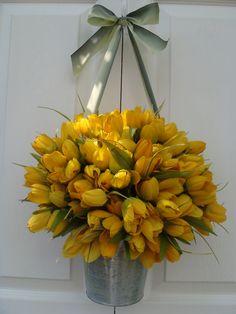 Spring wreath, front door wreath, door wreath, wreath, yellow tulip wreath. $69.00, via Etsy.