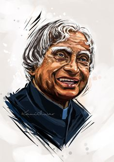Abdul Kalam Former President of India of fire Watercolor Portrait Tutorial, Watercolor Portraits, Digital Portrait, Portrait Art, Mahatma Gandhi Photos, Black Widow Avengers, Draw On Photos, Hd Photos, Kalam Quotes