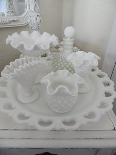 OHHH... I remember something like this that Mom had!! @Holly Diderichson-Greene      Large Vintage White Hobnail Milk Glass  Collection Shabby Chic Home Decor. $65.00, via Etsy.