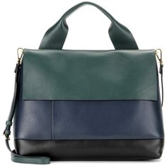 Marni City Pod Leather Tote (2,400 CAD) ❤ liked on Polyvore featuring bags, handbags, tote bags, multicoloured, leather handbag tote, handbags totes, green leather purse, leather tote and genuine leather tote