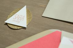 Triangle, circle, and gold glitter place card by apdesignco.com, styling by Every Last Detail, image by justindemutiisphotography.com