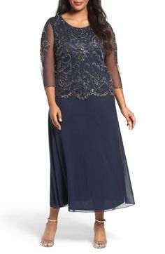 Pisarro Nights Embellished Bodice Overlay Maxi Dress (Plus Size) available at #Nordstrom