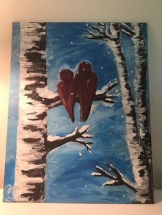 Red Cardinals on Birch Tree Winter Scene Painting Acrylic on canvas 11 x 14