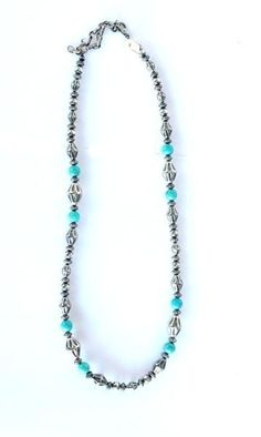 """Elongated Navajo Pearls and Turquoise Necklace 24"""" https://cowgirlkim.com/collections/whats-new/products/elongated-navajo-pearls-and-turquoise-necklace-24"""