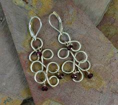 Silver Loop & Garnet Earrings.   #Jewelry #Earrings #Necklace #Bracelet #Bangle #rings #Silver #Sterling #Gems #Jewels #Quartz #Rubies #Garnet #Amethyst #Turquoise #Swarovski #Tourmaline #Rubilite #Wirewrap #Handtied   www.cariboudenver.com