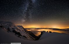 """Mont Blanc, meaning """"White Mountain"""", is the highest mountain in the Alps and the European Union. It rises m ft) above sea level and is ranked in the world in topographic prominence. Cosmos, Stormy Night, Just Beauty, Out Of This World, Place Settings, Alps, Beautiful World, Cool Photos, Northern Lights"""