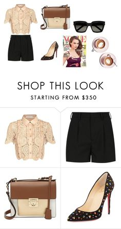 """""""4/9/2016"""" by phamthuquynh on Polyvore featuring self-portrait, Yves Saint Laurent, Salvatore Ferragamo, Christian Louboutin and Martha Stewart"""