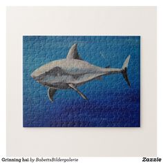 Grinning hai puzzle Puzzle, Predator, Fish, Painting, Map Invitation, Puzzles, Pisces, Painting Art, Paintings