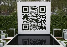 A QR code has been created from a wall of vertical planting and resolves to a website giving more information about the garden, including a plant list if you want to try this at home. Chelsea Flower Show, Vertical Planting, Pop Up Bar, Instructional Design, Garden Photos, Qr Codes, Innovation Design